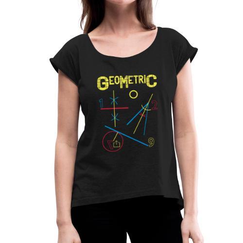 Geometric - Camiseta con manga enrollada mujer