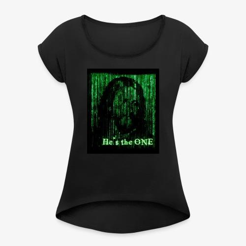 Martix Jezus - Koszulka damska z lekko podwiniętymi rękawami