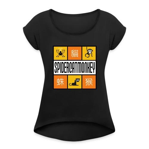 Band-Logo SPIDERCATMONKEY, orange - Frauen T-Shirt mit gerollten Ärmeln