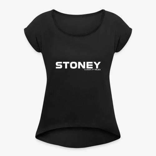 STONEY Classic No.1 BLACK - Frauen T-Shirt mit gerollten Ärmeln