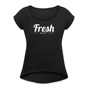 white logo - Women's T-shirt with rolled up sleeves
