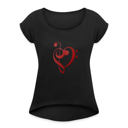 Love Music - Women's T-Shirt with rolled up sleeves