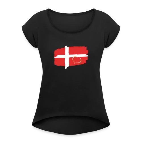 Dänemark Fahne mit Herz Flagge Land Nation - Frauen T-Shirt mit gerollten Ärmeln