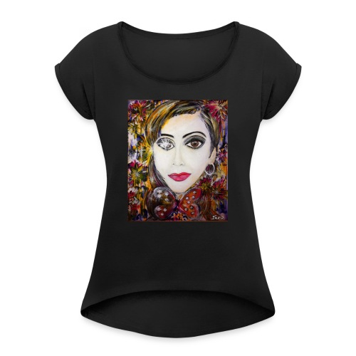 Nina - Women's T-shirt with rolled up sleeves