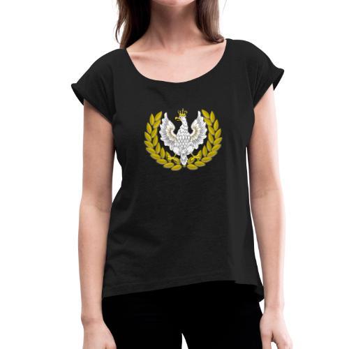 Koszulka patriotyczna Orzeł II RP Wieniec - Koszulka damska z lekko podwiniętymi rękawami