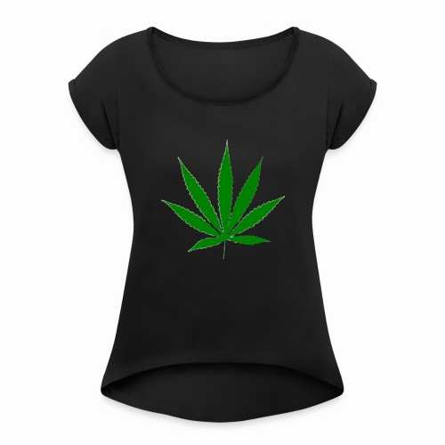 basice weed leaf - Women's T-Shirt with rolled up sleeves