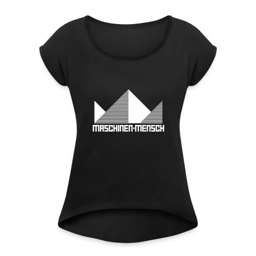 Maschinen-Mensch Logo black - Frauen T-Shirt mit gerollten Ärmeln