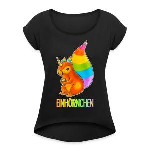 Einhörnchen - Frauen T-Shirt mit gerollten Ärmeln