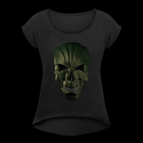Grim Skull 3D - Koszulka damska z lekko podwiniętymi rękawami