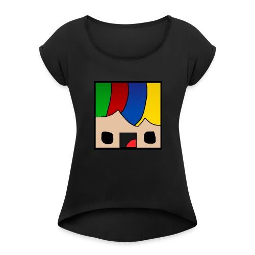 ProfSaurusCartoon - Frauen T-Shirt mit gerollten Ärmeln