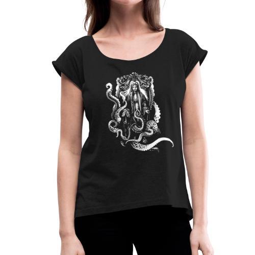 Jungfer mit Tentakeln - Frauen T-Shirt mit gerollten Ärmeln