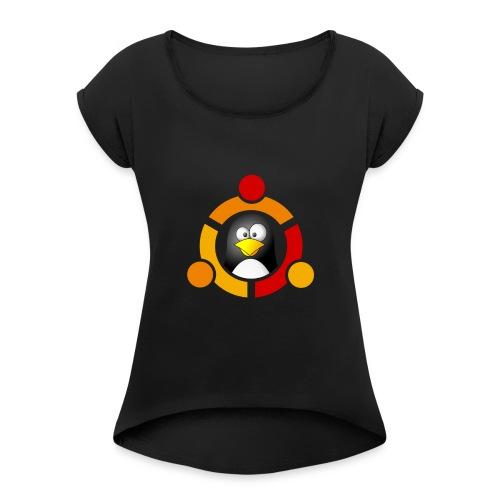 UbunTux - Maglietta da donna con risvolti
