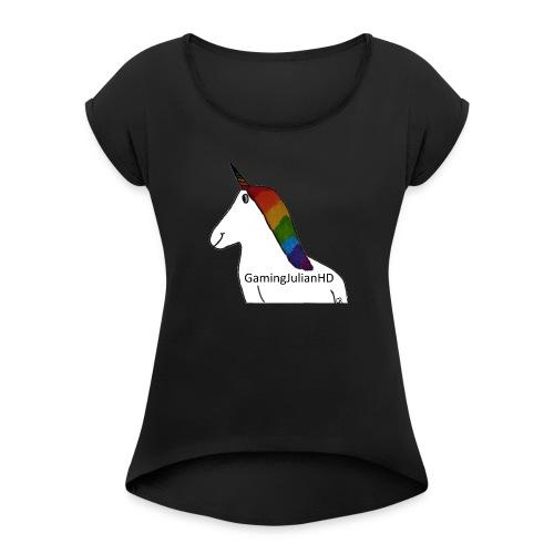 Einhorn gezeichnet - Frauen T-Shirt mit gerollten Ärmeln