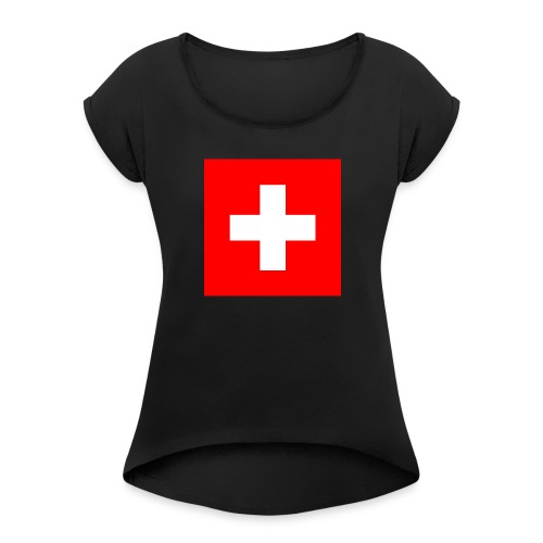 Flag_of_Switzerland - Frauen T-Shirt mit gerollten Ärmeln