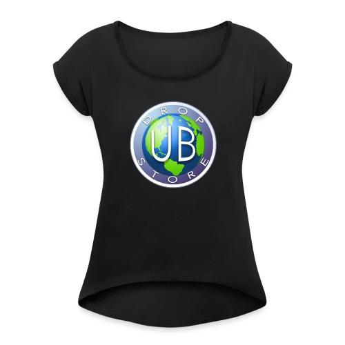 DropStore UB Logo - T-skjorte med rulleermer for kvinner