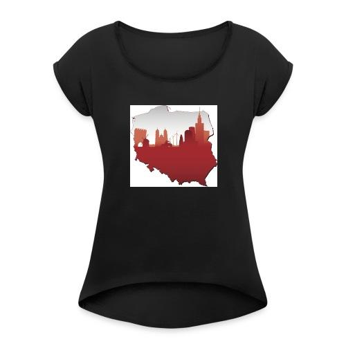 patriotyzm - Koszulka damska z lekko podwiniętymi rękawami
