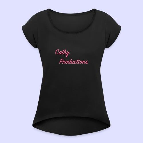 Logo CathyProductions Pink - Frauen T-Shirt mit gerollten Ärmeln