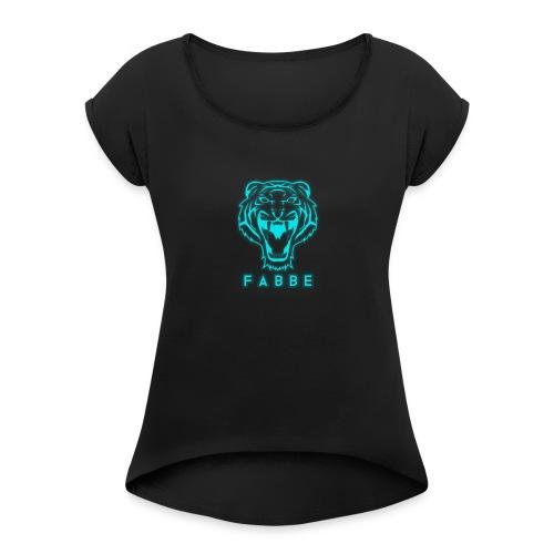 fabbe_png - T-skjorte med rulleermer for kvinner