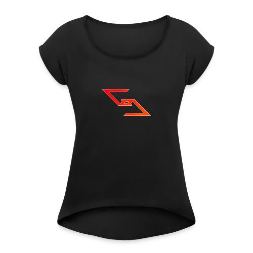 Logo et paterne de la marque. - T-shirt à manches retroussées Femme