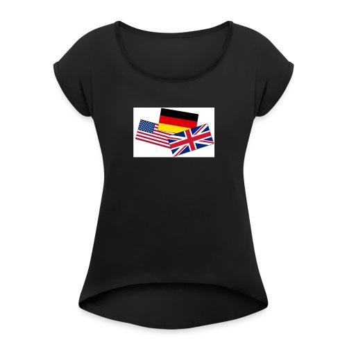 Englisch_Deutsch_Unterhaltung_Prod - Frauen T-Shirt mit gerollten Ärmeln