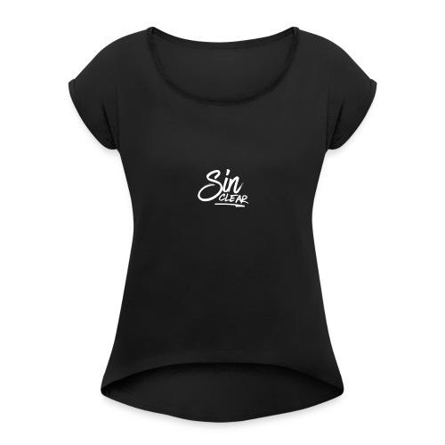 LogoWhite - Frauen T-Shirt mit gerollten Ärmeln