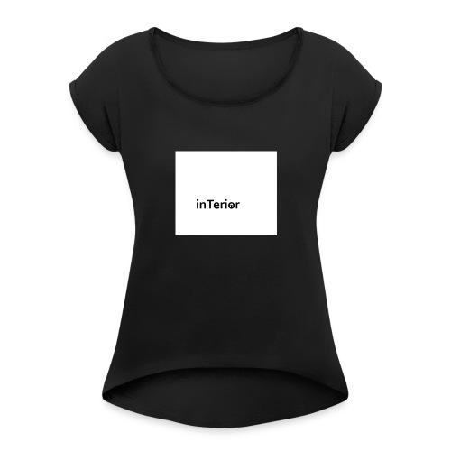 inTerior - Koszulka damska z lekko podwiniętymi rękawami