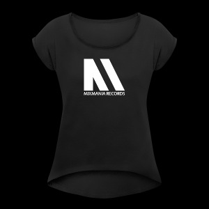 M LOGO MIXMANIA RECORDS WHITE - Women's T-shirt with rolled up sleeves