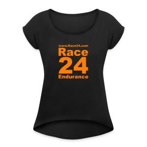 Race24 Logo in Orange - Women's T-shirt with rolled up sleeves