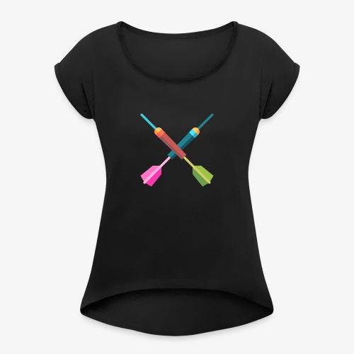 Darts Bunt - Frauen T-Shirt mit gerollten Ärmeln