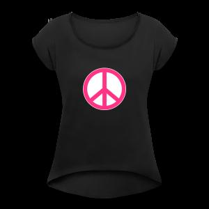 Peace, Love and Happiness - Vrouwen T-shirt met opgerolde mouwen