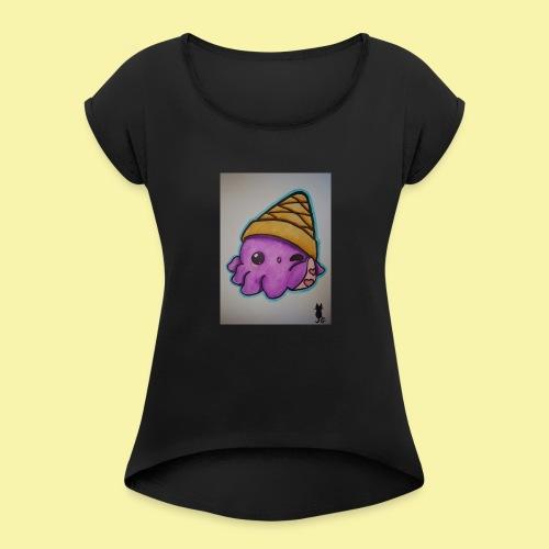 Octo-Waffel - Frauen T-Shirt mit gerollten Ärmeln