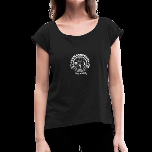 geweihbär Seemannsgarn 3 weiss - Frauen T-Shirt mit gerollten Ärmeln