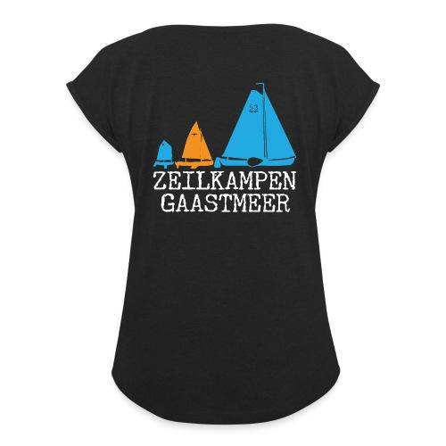 ZKG Wit - Vrouwen T-shirt met opgerolde mouwen