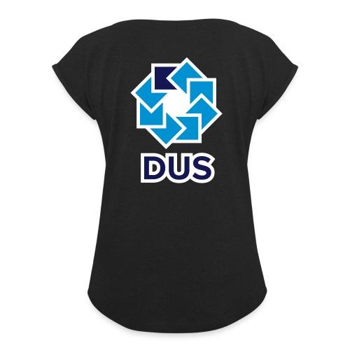 Kotlin User Group Düsseldorf - White Border - Frauen T-Shirt mit gerollten Ärmeln