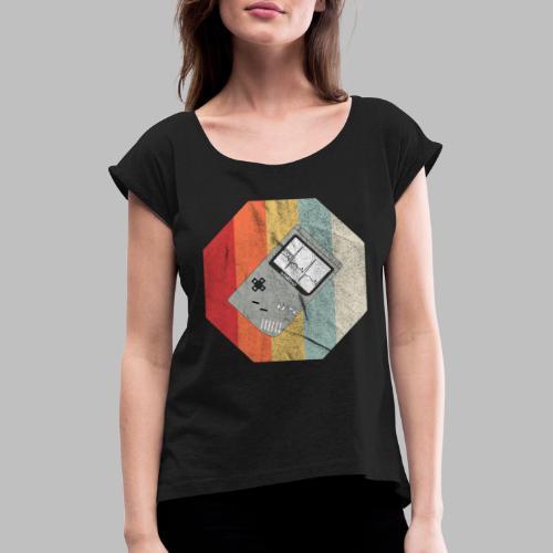 Spielekonsole Herzschlaglinie Gamer Old School - Frauen T-Shirt mit gerollten Ärmeln