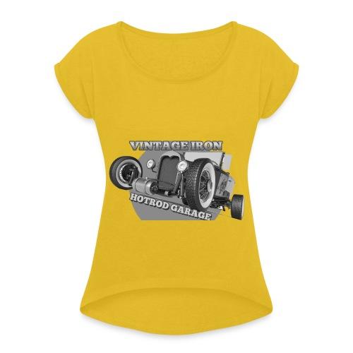 hotrod vintage grau - Frauen T-Shirt mit gerollten Ärmeln