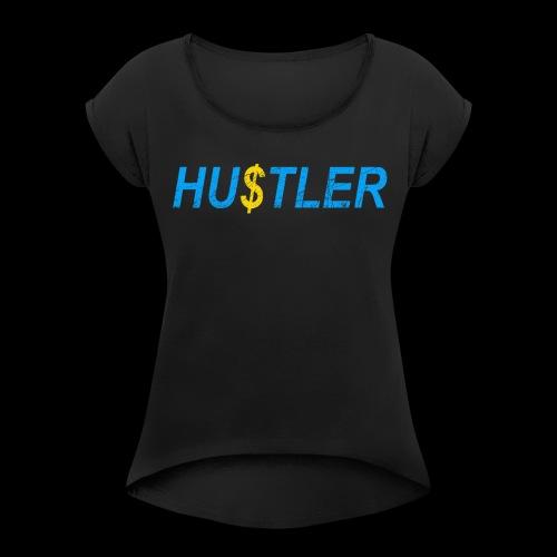 Hustler Used Look - Frauen T-Shirt mit gerollten Ärmeln