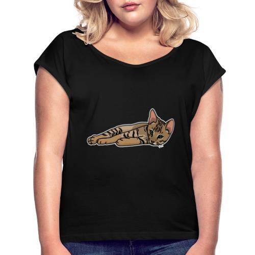 Bengalkatze, Bengal, Katze, Leopardkatze, Comic - Frauen T-Shirt mit gerollten Ärmeln