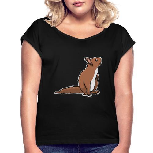 Eichhörnchen, Nagetier, Tier, süß, Geschenkidee - Frauen T-Shirt mit gerollten Ärmeln