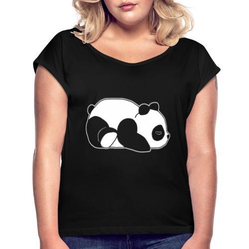 Panda, süß, Tier, Comic - Frauen T-Shirt mit gerollten Ärmeln