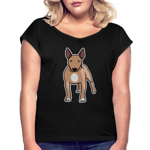 Bullterrier, Hund, Comic - Frauen T-Shirt mit gerollten Ärmeln