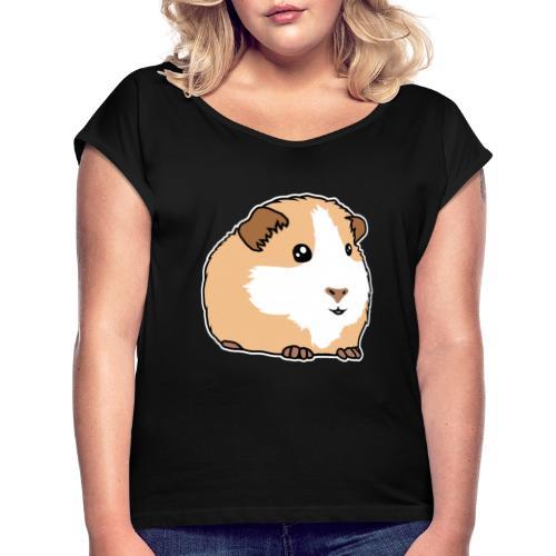 Meerschweinchen, Hausmeerschweinchen, Tier, kawaii - Frauen T-Shirt mit gerollten Ärmeln