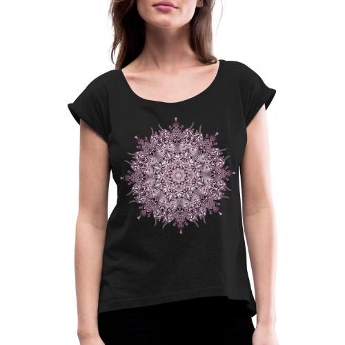 Purple Mandala - Frauen T-Shirt mit gerollten Ärmeln