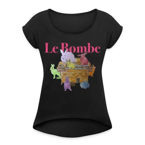 Le Bombe - T-shirt med upprullade ärmar dam