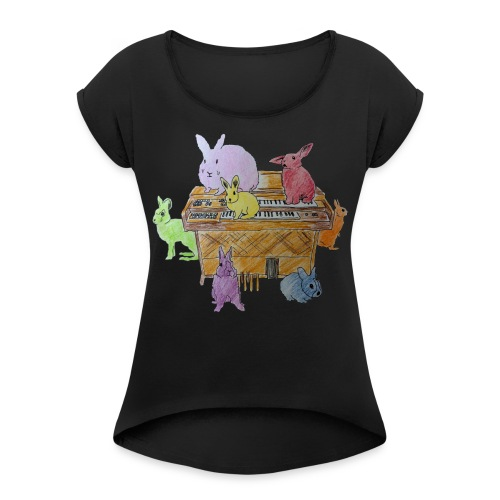 Rainbow Rabbits - T-shirt med upprullade ärmar dam