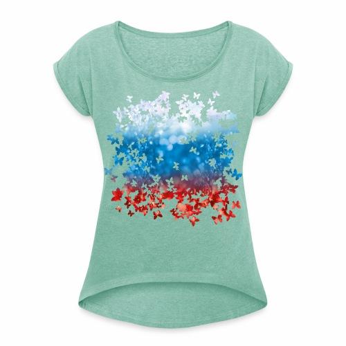 06 Russland Flagge Fahne Russia Schmetterlinge - Frauen T-Shirt mit gerollten Ärmeln