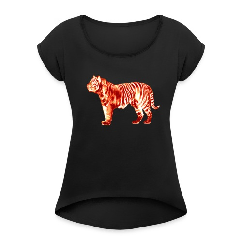 Red Tiger - Women's T-Shirt with rolled up sleeves