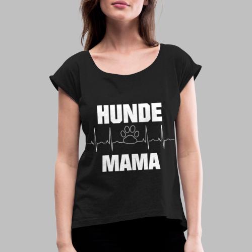 Hundemama EKG Herzlinie Pfote - Frauen T-Shirt mit gerollten Ärmeln
