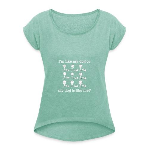 Cane con ragazza divertente - Maglietta da donna con risvolti