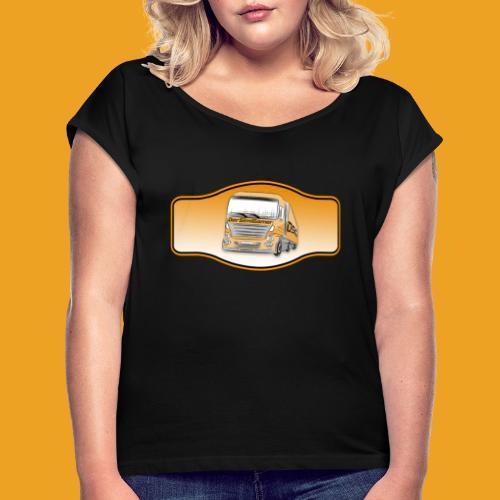 DerSimiGamer auf ein Schild - Frauen T-Shirt mit gerollten Ärmeln
